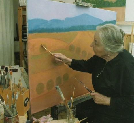Concha Ibáñez pintant
